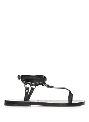Etoile İsabel Marant %100 Deri Parmak Arası Sandalet Siyah